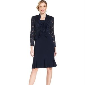 R&M Richards Metallic A-Line Dress & Ruffle Jacket